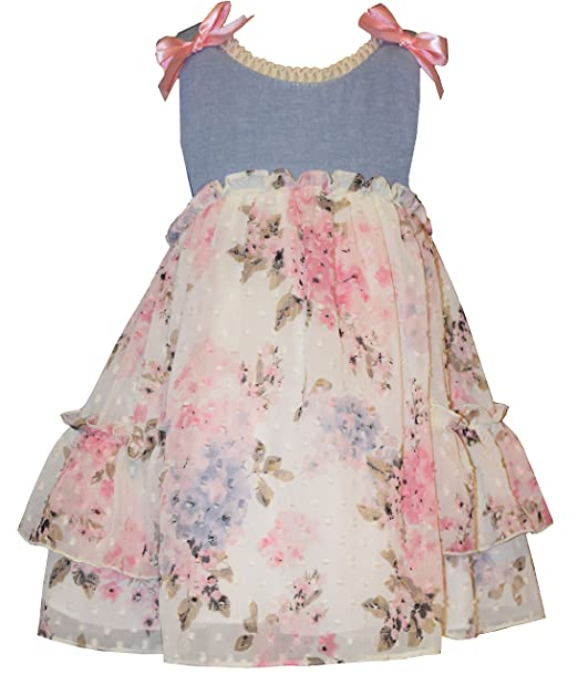 f47cd5199 Amazon.com: Bonnie Baby Girls Vintage Floral Chambray Dress Set (0m ...