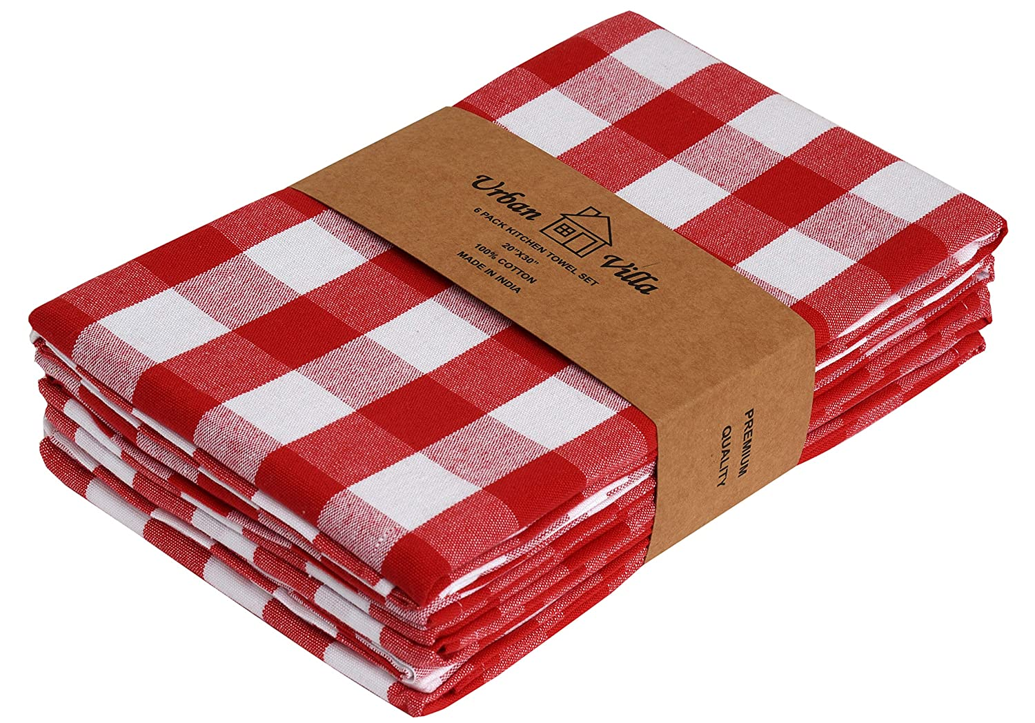 Urban Villa Kitchen Towels, Premium Quality,100% Cotton Dish Towels,Mitered Corners,Ultra Soft (Size: 20X30 Inch), Red/White Highly Absorbent Bar Towels & Tea Towels - (Set of 6)