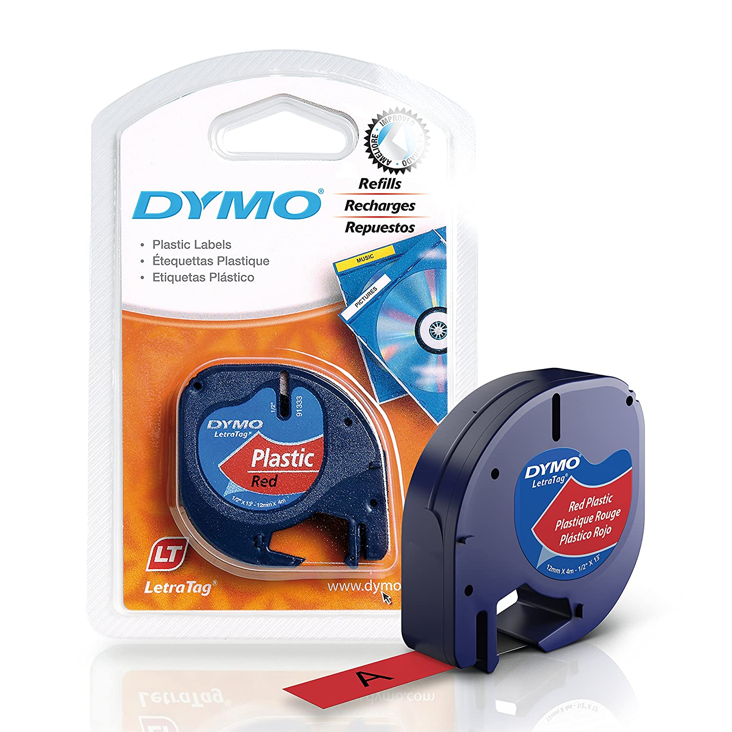 "DYMO LetraTag Labeller Tape, Plastic Tape Cassette 1/2"" x 13', 1-Carded, Pearl White (91331) Sanford Office Supplies"