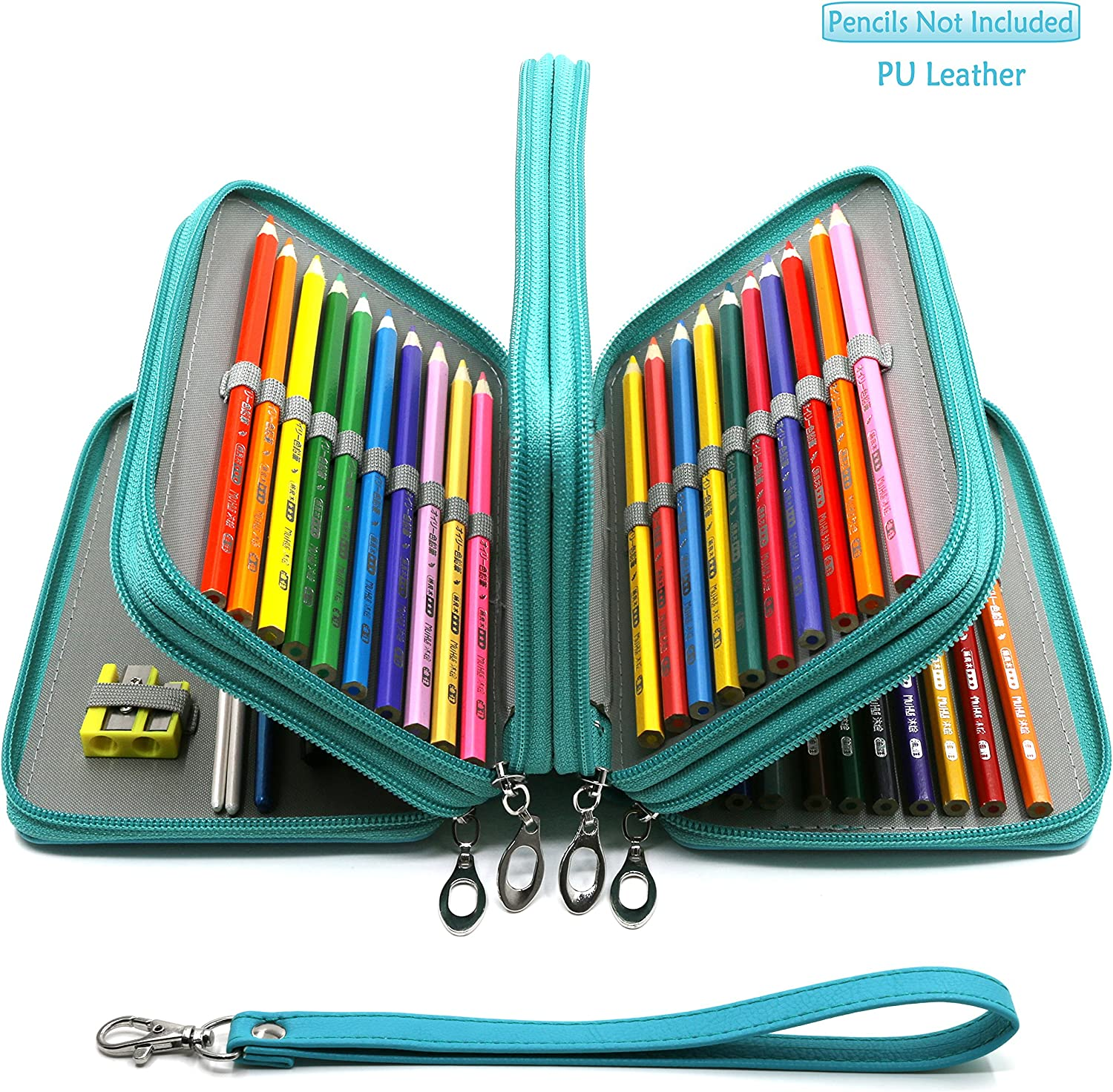 YOUSHARES 72 Slots Pencil Case Turquoise PU Leather Handy Multi-Layer Large Zipper Pen Bag with Handle Strap for Colored//Watercolor Pencil