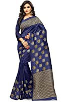Ginigold Women's Cotton Silk Saree With Blouse Piece (N-250,Dark Blue,Free Size)