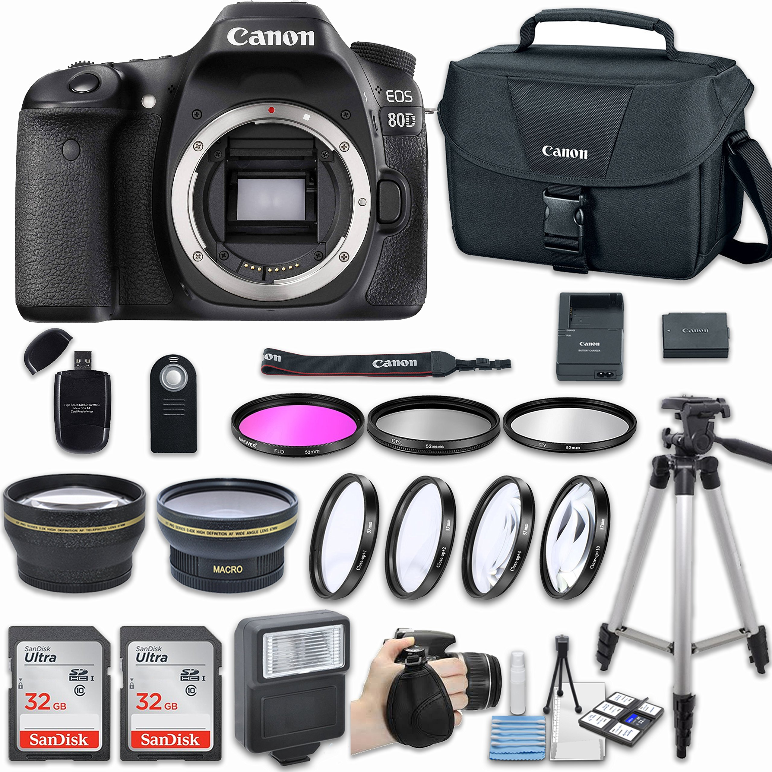 Canon EOS 80D DSLR Camera (Body Only) with Bundle - Includes 58mm HD Wide Angle Lens + 2.2x Telephoto + 2Pcs 32GB Sandisk SD Memory + Filter & Macro Kit & More Accessories by Canon