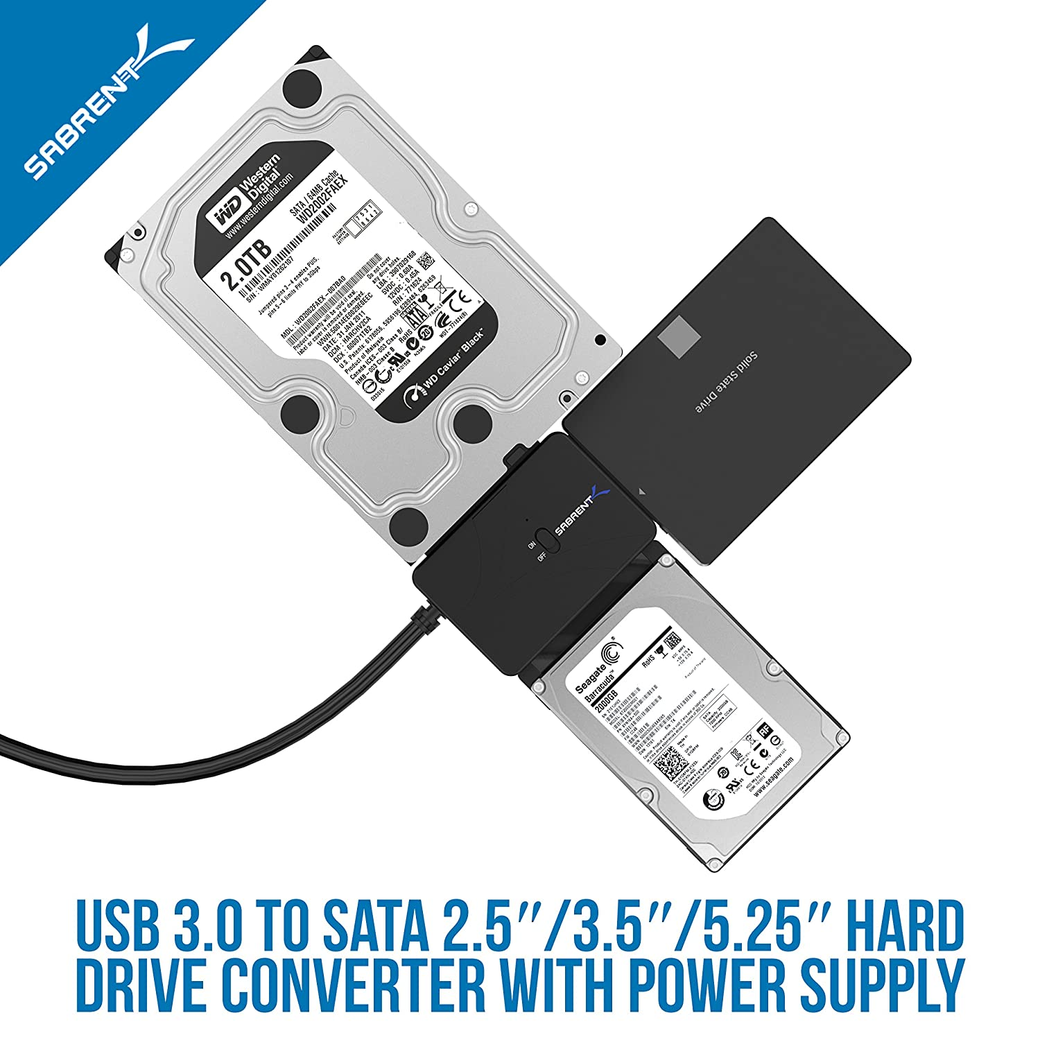 USB-DS12 Sabrent USB 3.0 TO SSD//SATA 10TB Support IDE 2.5//3.5//5.25-INCH Hard Drive Converter With UL Power Supply /& LED Activity Lights