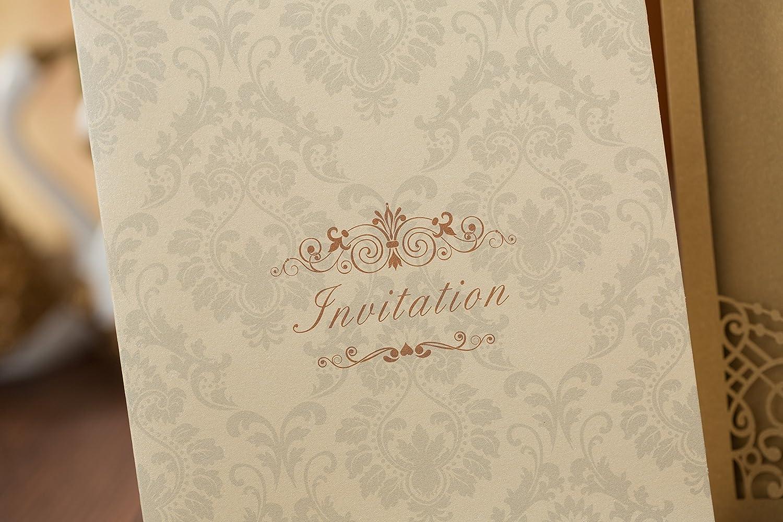 Amazon.com: PONATIA 25PCS Laser Cut Invitations Cards Luxury Diamond ...