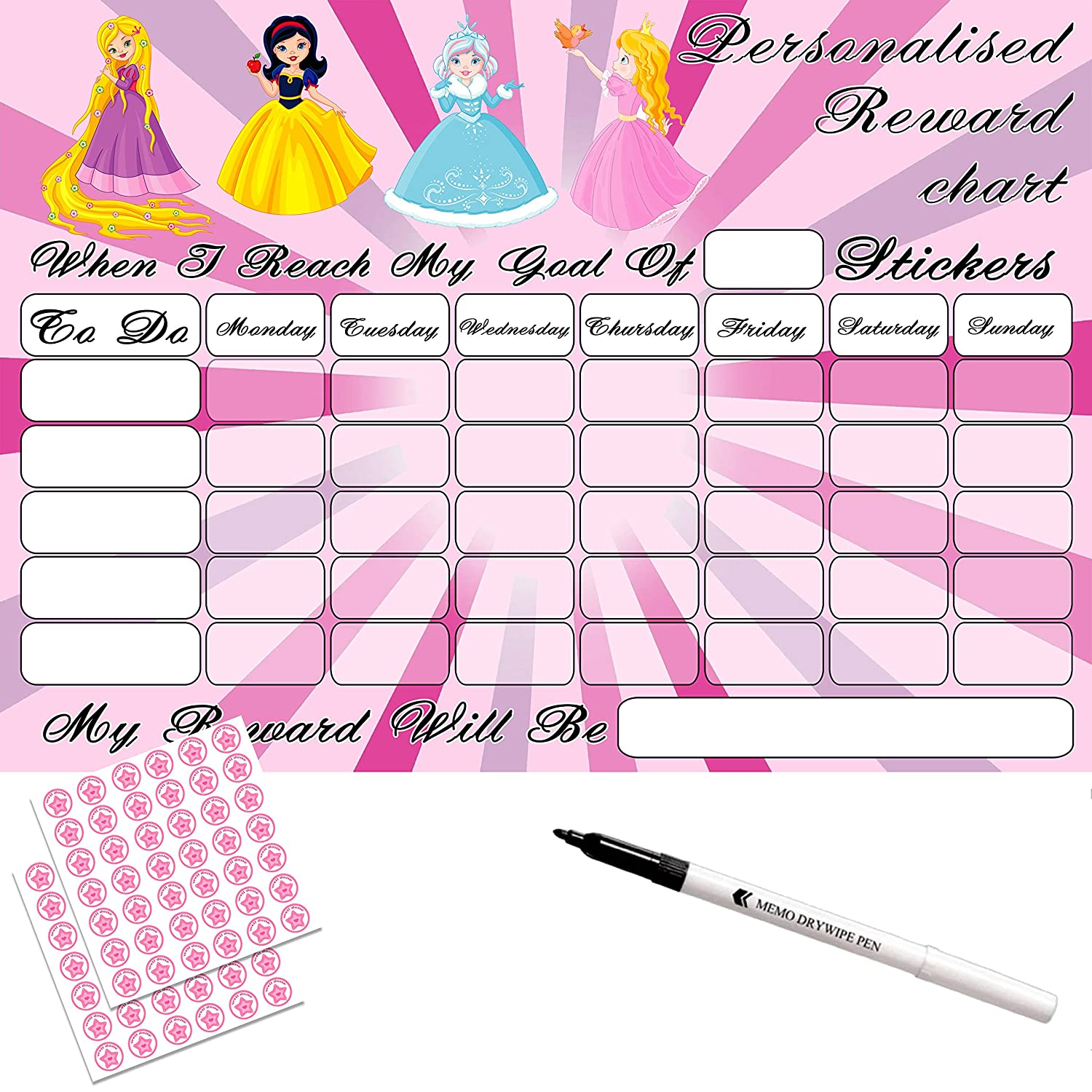 MAGNETIC GIRLS REUSABLE REWARD CHART Unicorn stickers and pen