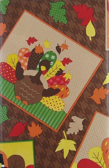 Thanksgiving Turkey Day Portraits Vinyl Flannel Back Tablecloth (52u0026quot; X  70u0026quot; ...