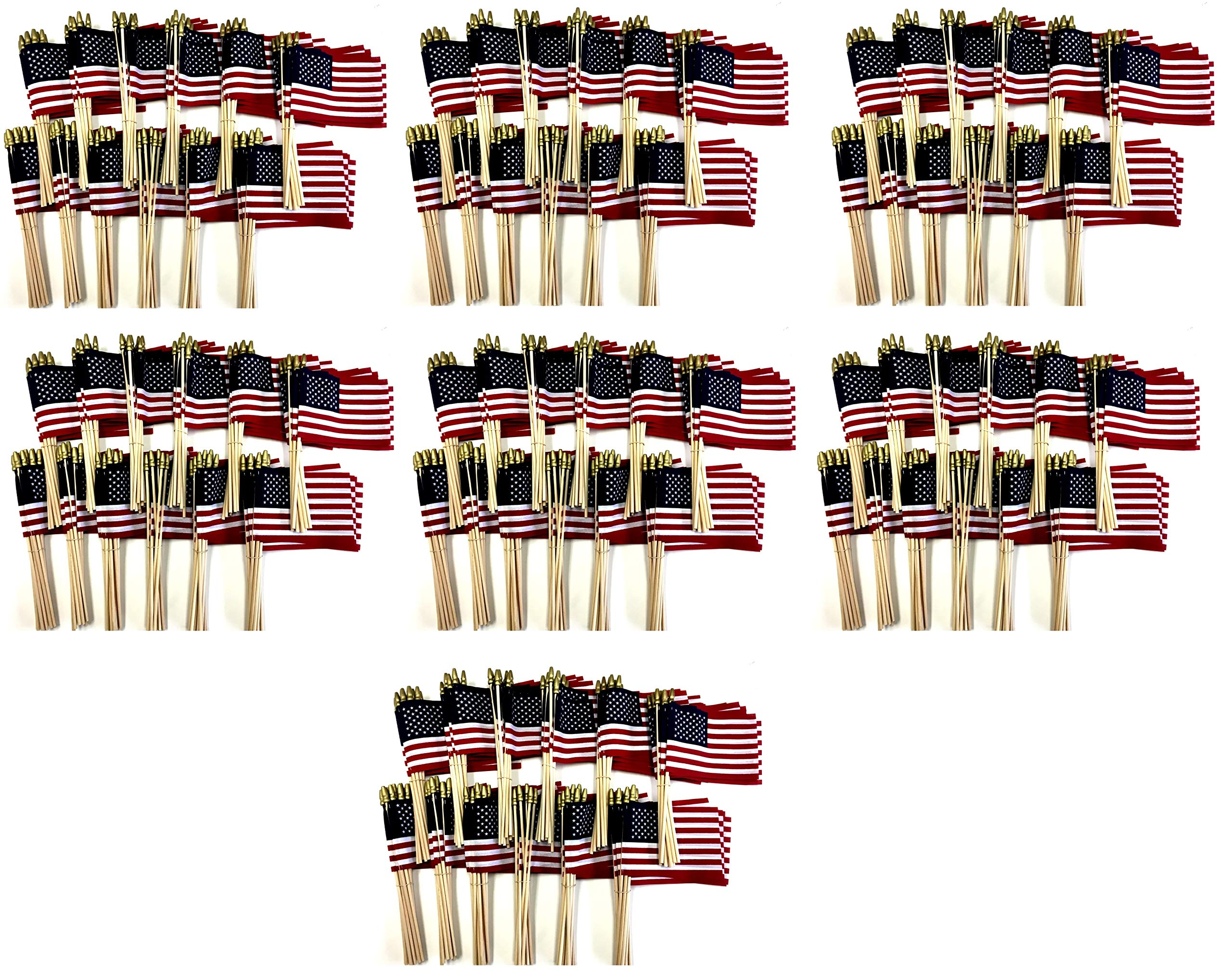 Made in The USA!! Wholesale Case of 1000 Cotton 4''x6'' United States Miniature Desk & Little Table Flags, 84 Dozen 4''x 6'' Cotton American Small Mini Handheld Waving Stick Flag by World Flags Direct