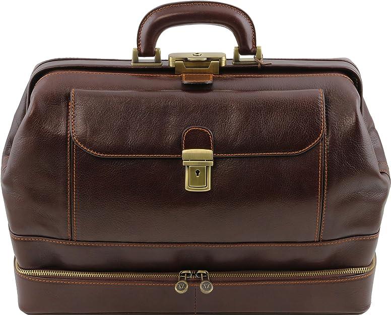 Giotto Tuscany Leather El/égante Mallette m/édecin en cuir /à double fond Marron TL141297//1