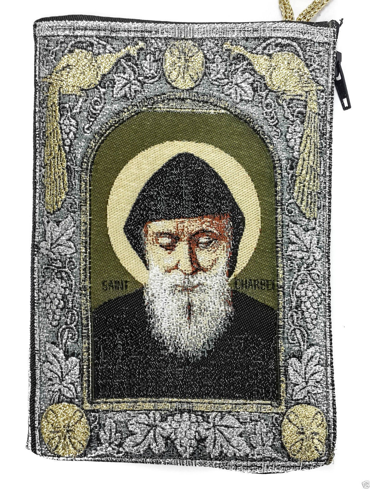 Icon Case Pouch Coin Purses Tapestry Prayer With Saint ST Charbel Makhluf 5.7'' by Holy Land Gifts