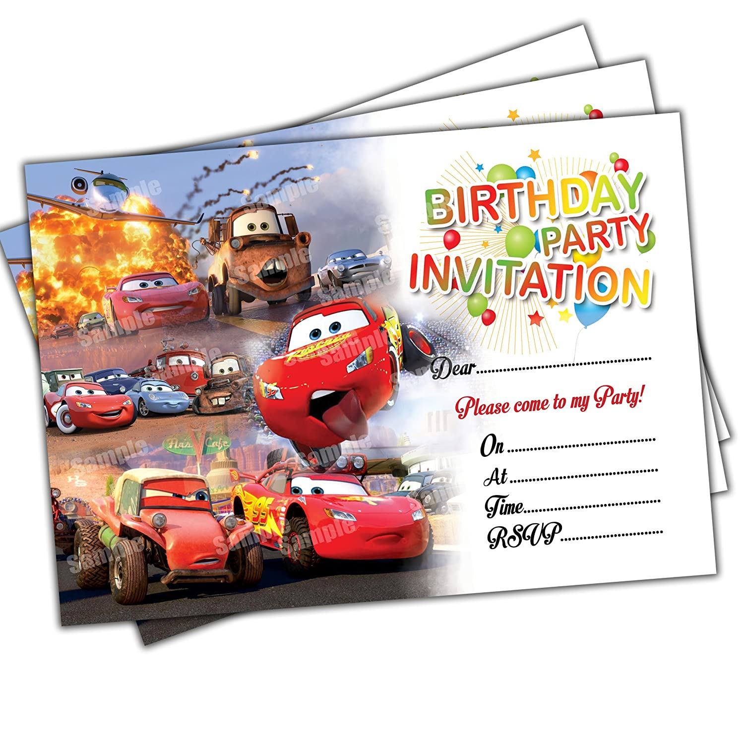 20 x Cars Kids Birthday Party Invitations Invites Cards Quality Girls Boys Birthday Invitations