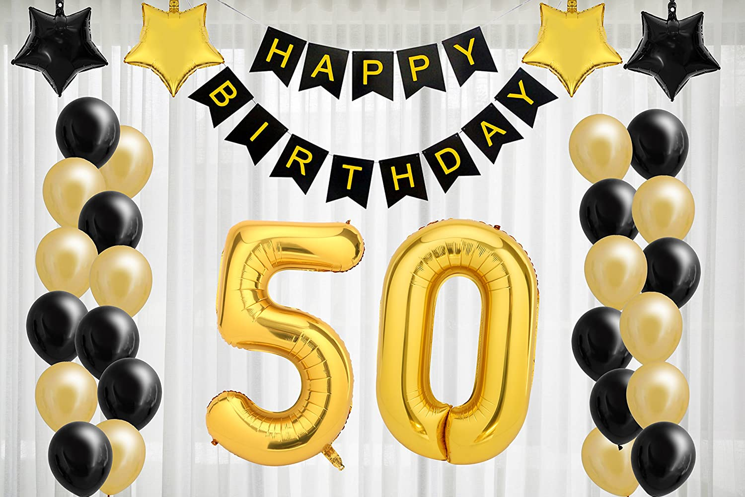 712689d0 Amazon.com: 50th Birthday Decorations for The Best 50th Birthday Party -  Includes Happy Birthday Banner, Large Number 50 Birthday Latex Balloons +  24 ...