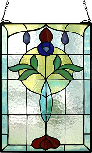 Yogoart Tiffany Style Life Power Stained Glass Window Panel Hanging Transom Window 20 X 14