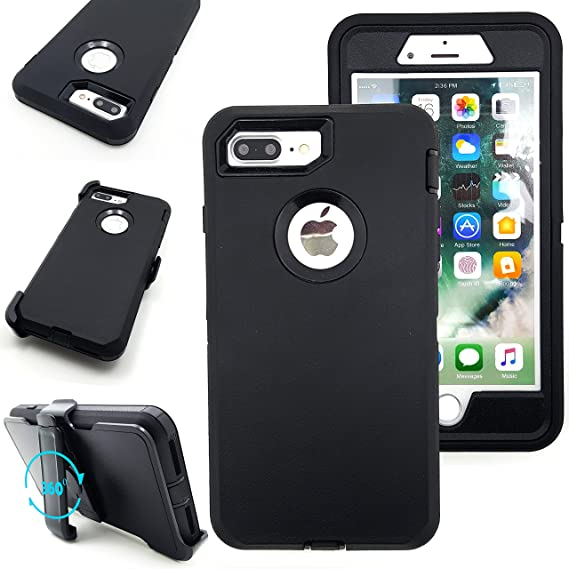 on sale c1d46 b1be8 iPhone 7 Plus Case,Vodico Heavy Duty Rugged Multi-Layer Hybrid Protective  Shockproof Defender Armor Case Cover with Belt Clip and Built-in Screen ...