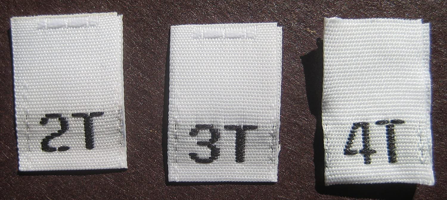 100 PCS TODDLER CHILD WOVEN SIZE TAGS LABELS WHITE SIZE 2T