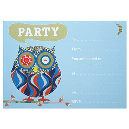 cute owl party invitations 10 postcards with envelopes amazon co