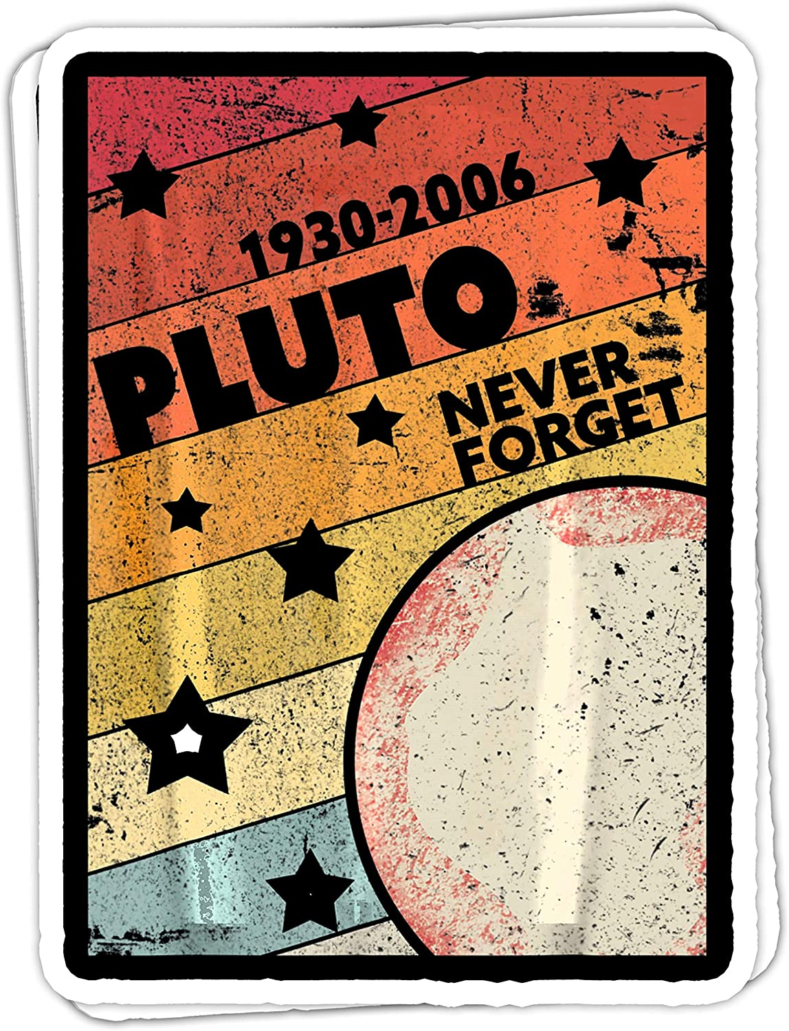 chillylkst Never Forget Pluto Retro Style Funny Space, Science - 4x3 Vinyl Stickers, Laptop Decal, Water Bottle Sticker (Set of 3)