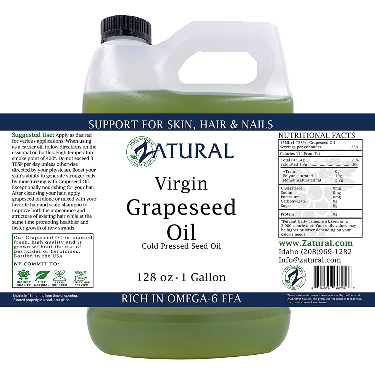 GrapeSeed Oil-Cold Pressed, Virgin, Undiluted, 100 Pure Grape Seed Oil 128 Ounce 1 Gallon