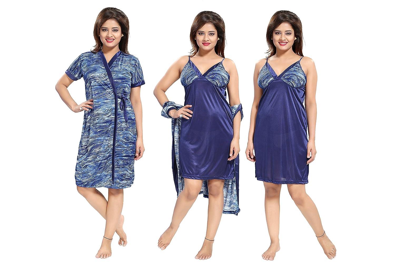 15136c66ae TUCUTE Women s Girls 2pcs Beautiful Denim Print Nighty Nightdress Night  Gown (Inner Short Gown   Robe) (Blue) 1465  Amazon.in  Clothing    Accessories