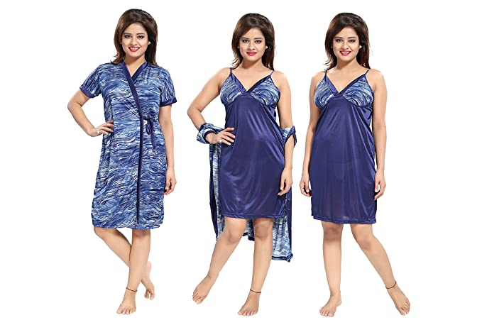 e937605980 TUCUTE Women s Girls 2pcs Beautiful Denim Print Nighty Nightdress Night Gown  (Inner