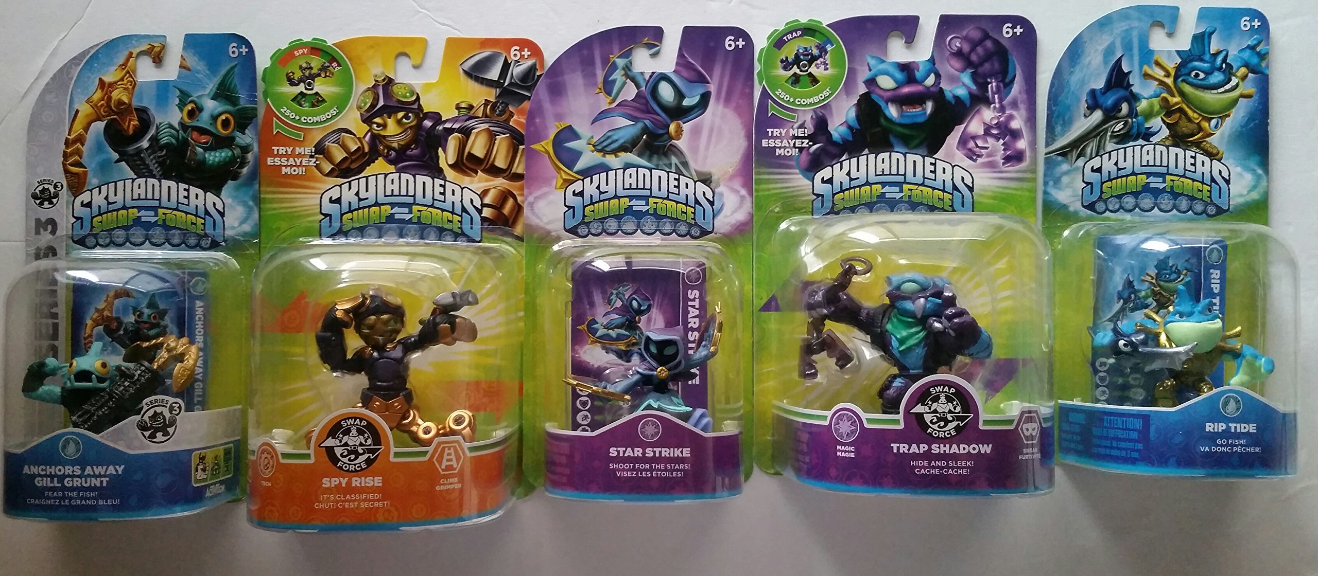 Skylanders Swap Force Action Figures (5) : Spy Rise,Trap Shadow , Rip Tide , Star Strike , and Anchors Gill Grunt
