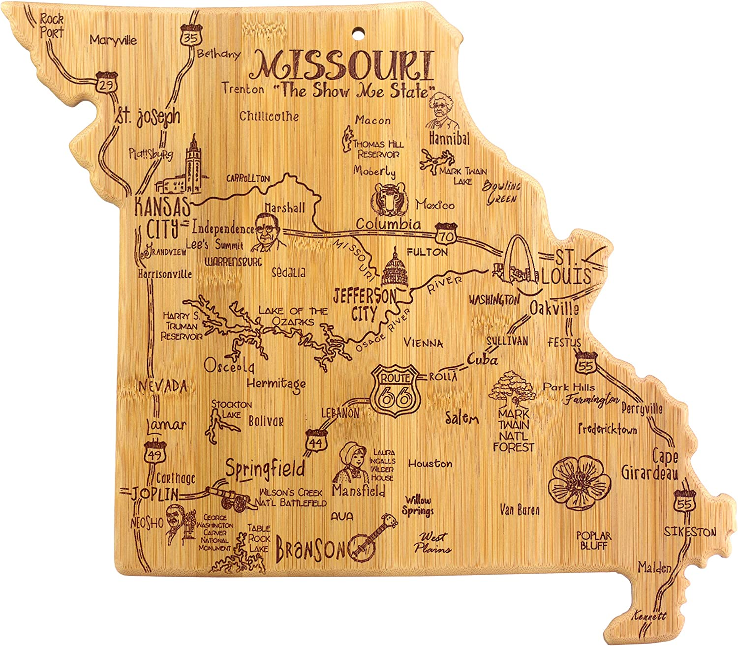 Totally Bamboo Missouri State Destination Bamboo Serving and Cutting Board