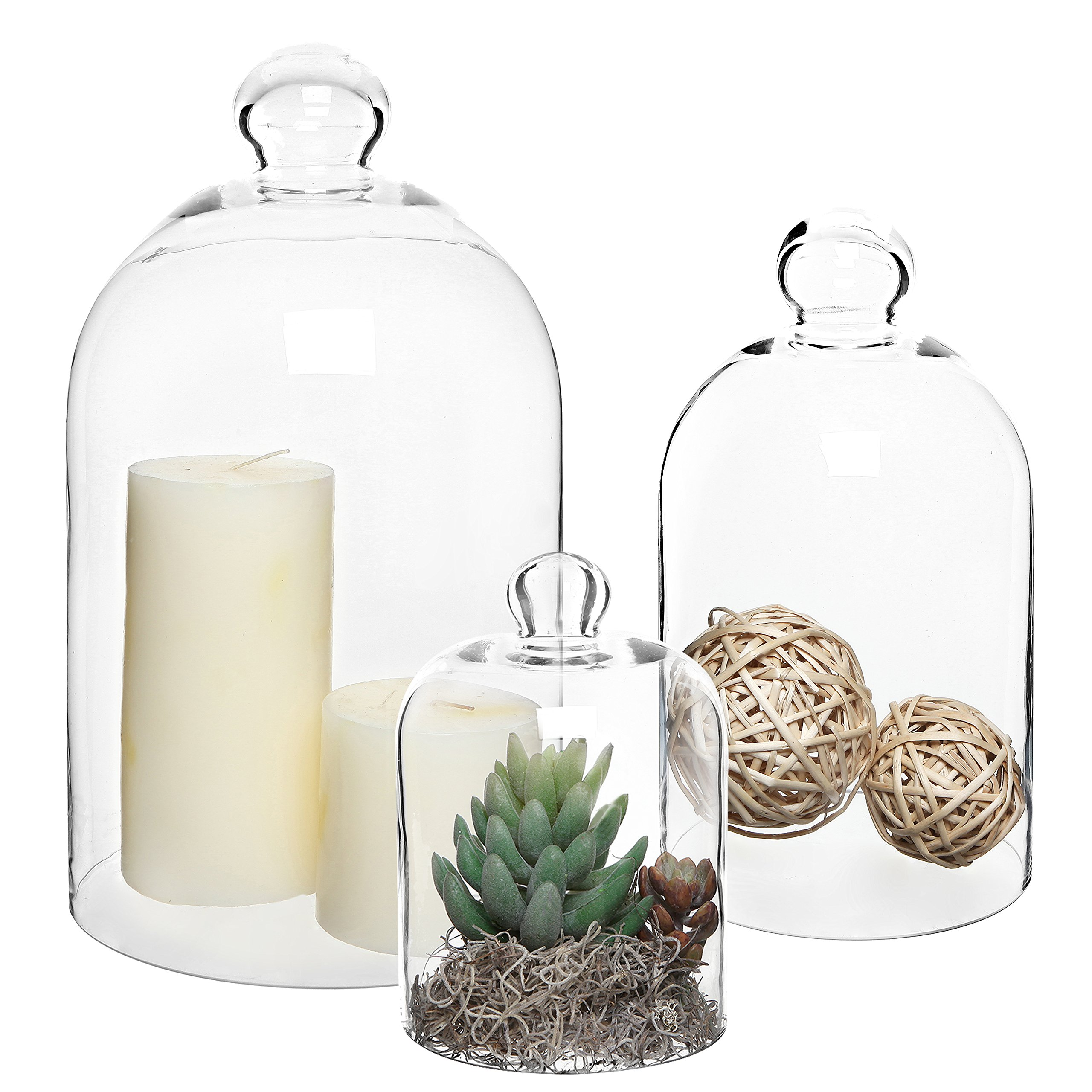 MyGift Set of 3 Decorative Clear Glass Apothecary Cloche Bell Jars/Centerpiece Dome Display by MyGift