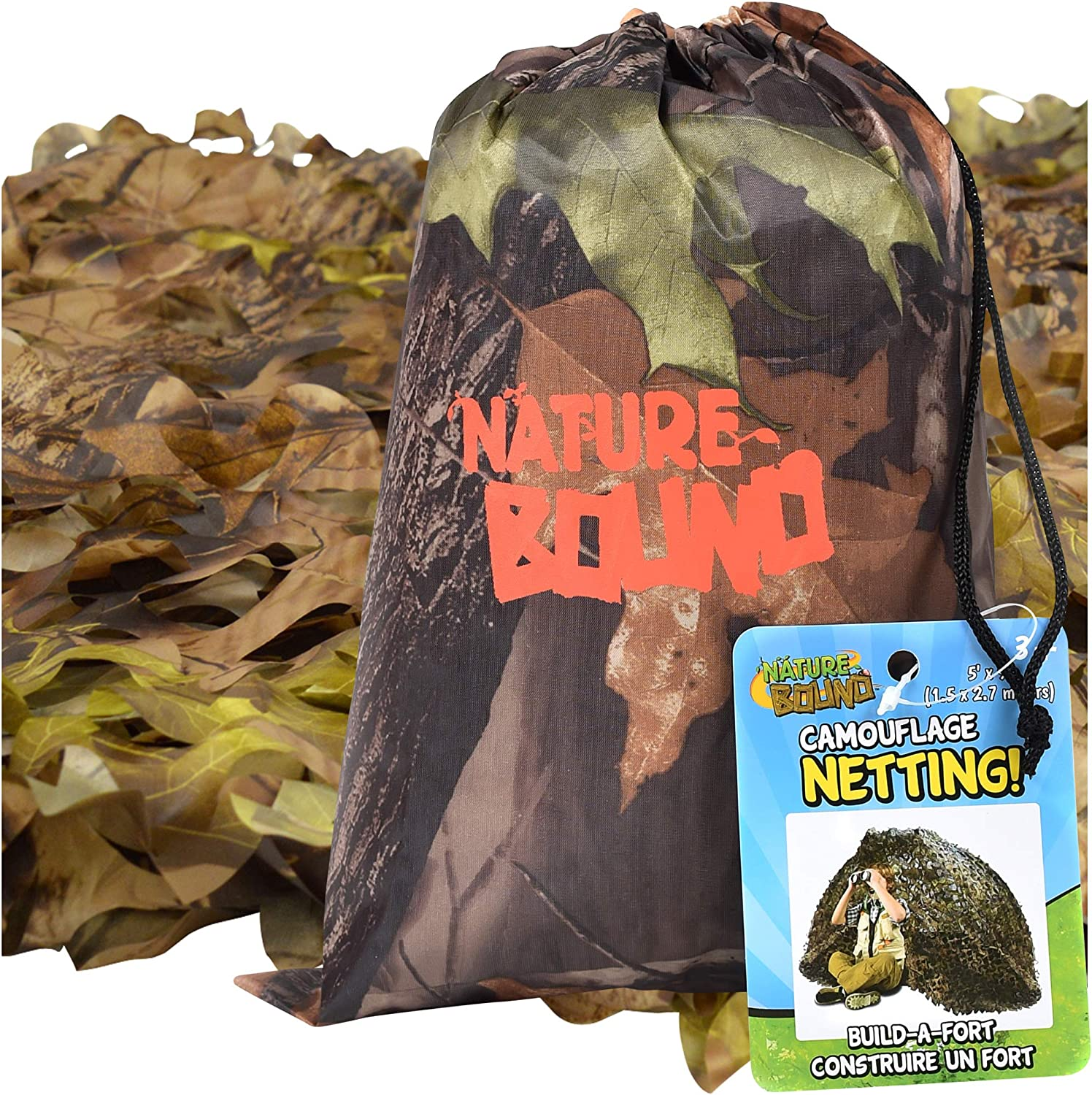 Nature Bound Camouflage Net for Kids, 9-Feet by 5-Feet, for Camping, Hiking, Indoor and Outdoor Play, Boys and Girls Ages 3+