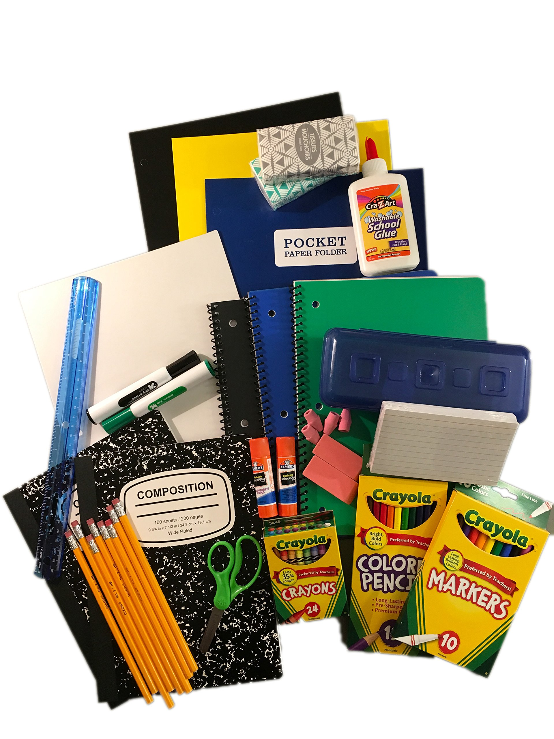 Complete Wide Rule Basic School Supply List Kit Bundle for Elementary to Middle