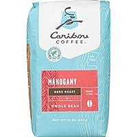Caribou Coffee, Mahogany Dark Roast, Whole Bean, 12 oz. Bag, Dark Roast Blend of El Salvador, Sumatra, & Guatemala Coffee Beans, Earthy, Dark, & Bold, with A Raw Sugar Finish; Sustainable Sourcing