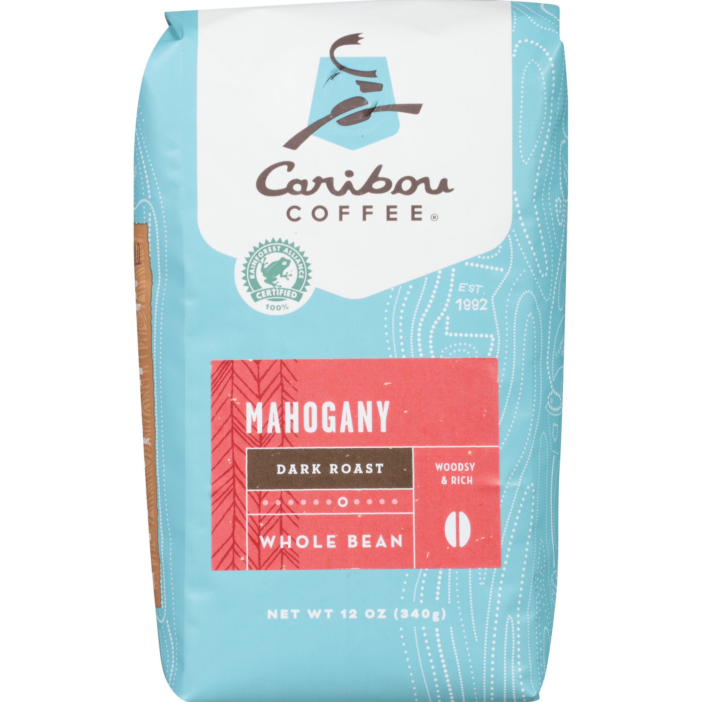Caribou Coffee Mahogany Whole Bean, Dark Roast, 12 Ounce Bag