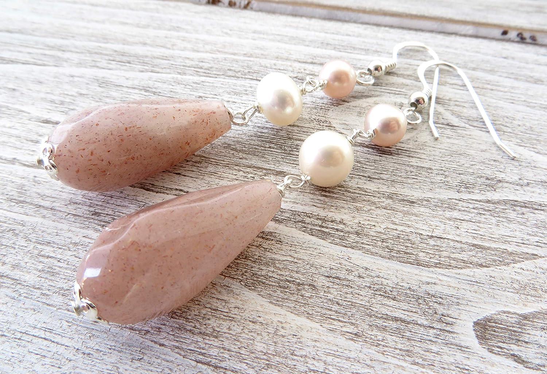 Pendientes de perlas naturales y piedra de sol, pendientes de plata 925, pendientes largos colgantes, joyas de piedras semi preciosas, joyas para mujer