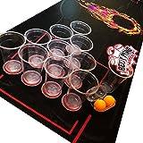 Lifestyle 2.0 NUOVO Kit per Beer Pong Deluxe – Tappetino Impermeabile e Antistrappo 180x60cm– Bicchieri Grandi - 4 Palline da Beer Pong – Drinking Game Americano - Nuovo Gioco Alcolico di Gruppo
