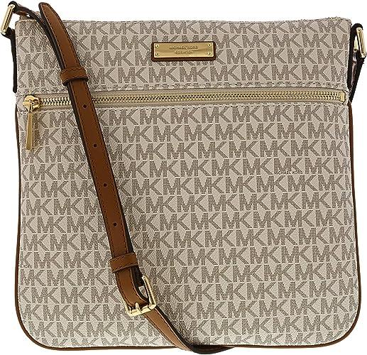 Michael Kors Bedford Signature Flat Cross Body Bag Vanilla