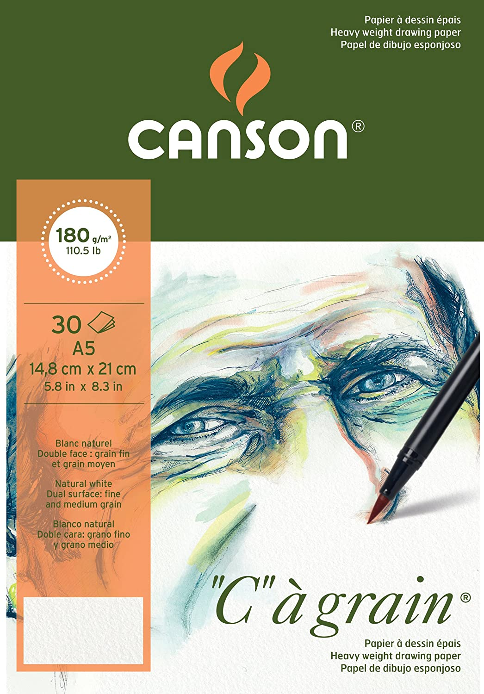 color blanco natural grano fino Canson C /à grain Bloc de papel de dibujo de 180 g 30 hojas color blanco natural 29,7 x 42 cm A3