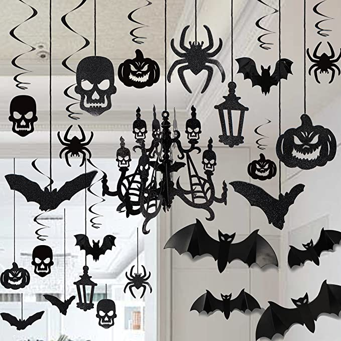 Bats Feelmate Halloween Haunted House Decoration Swirl Ceiling Hanging and Wall Decoration-Ghosts Skeletons Decor for Halloween