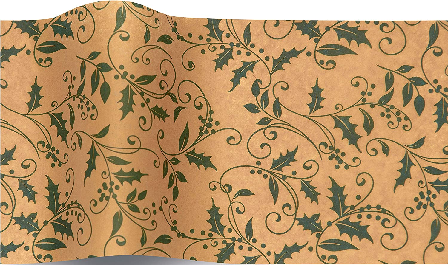 Vintage Christmas Tissue Wrapping Paper or Gift Wrap with Cornucopia Fruits Vegetables and Holly