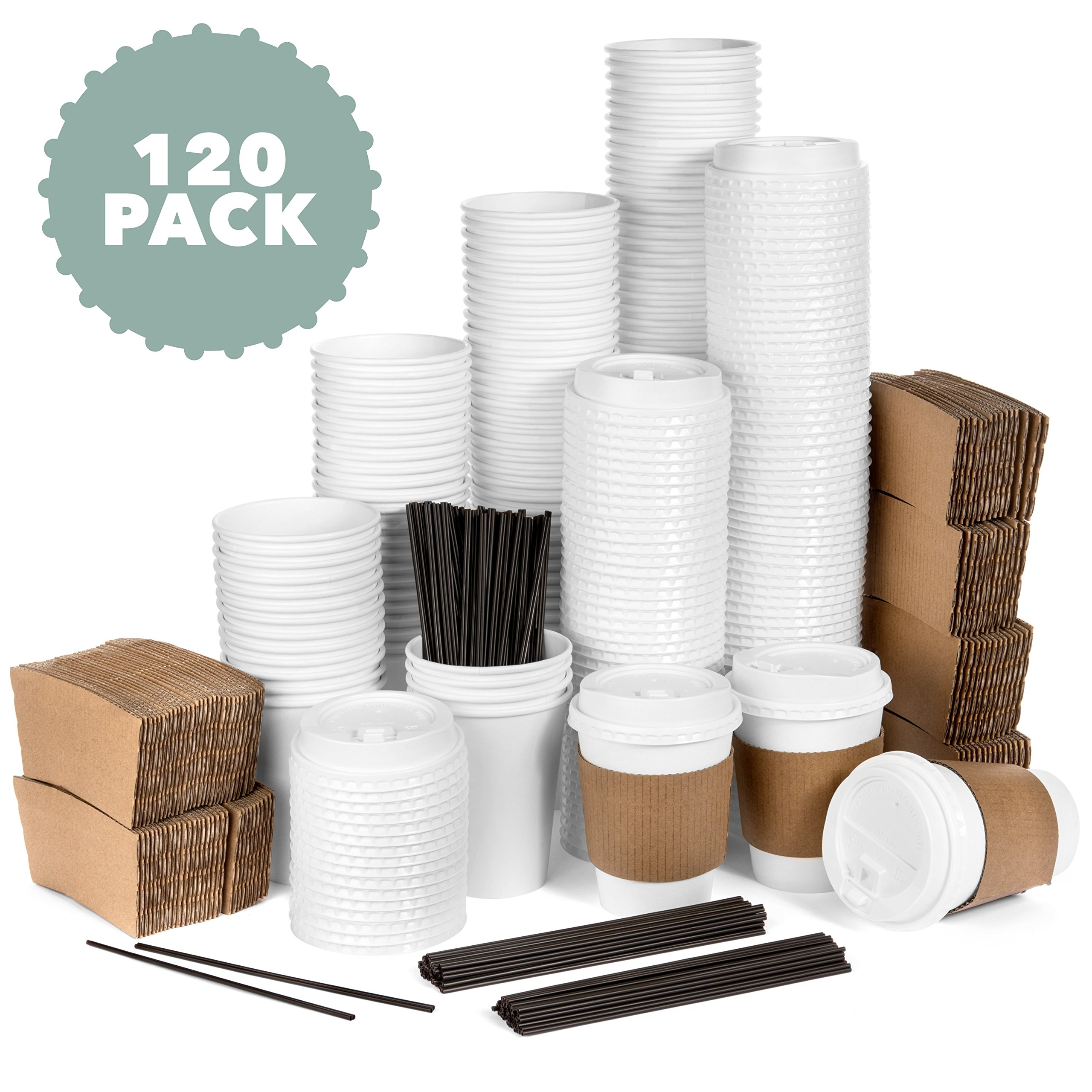 Average Joe - 120 Pack - 12 Oz Disposable Hot Paper Coffee Cups, Lids, Sleeves, Stirring Straws To Go - (Clean White Color)