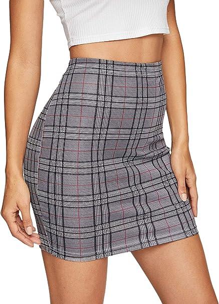 Shein - Falda de lápiz, básica, elástica, para Mujer - Gris - X ...