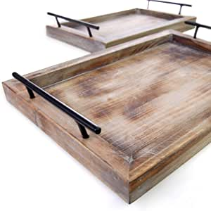 Wooden Serving Trays with Handles (2 Pc. Set) Rustic Color, Farmhouse Wood Butler Platters | Serve Breakfast, Appetizer, Coffee, Bar, and Food | Party or Display Use (Rustic) | Bison Home Goods