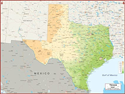 Large Map Of Texas.Amazon Com 54 X 41 Large Texas State Wall Map Poster With
