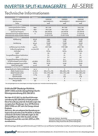 Amazon.com: Comfee MSR23-12HRDN1-QE Inverter Split-Version Air Conditioner with Quick-Connector / 12000 BTU / Heat Pump / for 40 m² Rooms / EEC: A: Kitchen ...