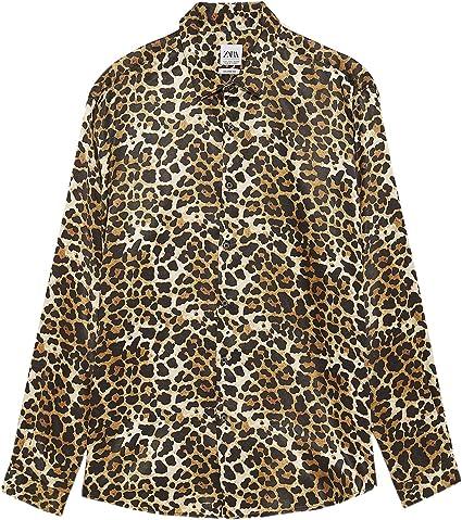 Zara 7545/413 - Camisa de satén con Estampado Animal para Hombre - Negro - Small: Amazon.es: Ropa y accesorios