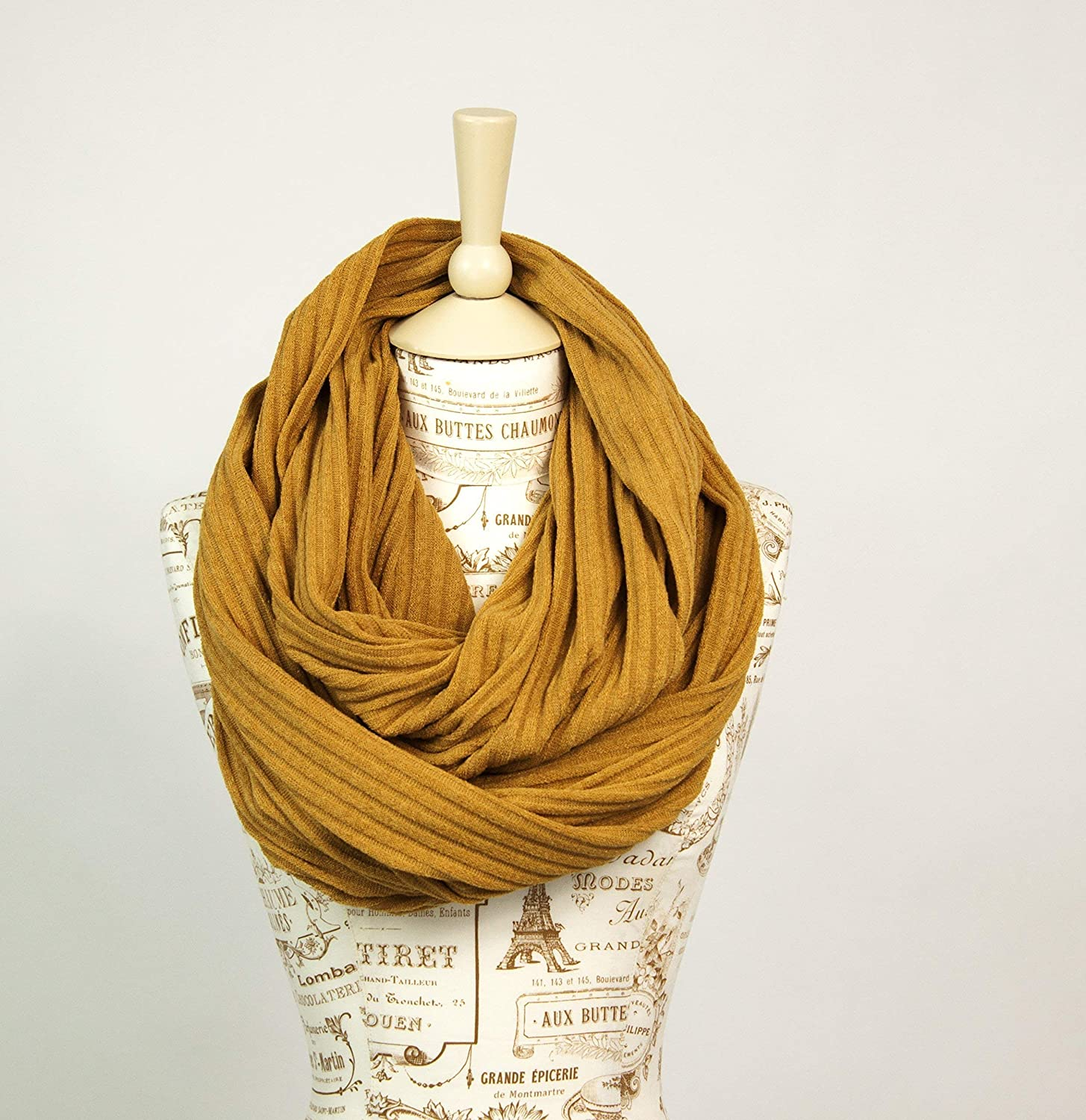 Sweater Ribbed Knit Infinity Scarf (Mustard Yellow)