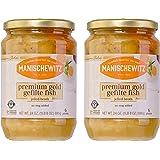 Manischewitz Premium Gold Gefilte Fish with Carrots 24oz (2 Pack), Kosher for Passover