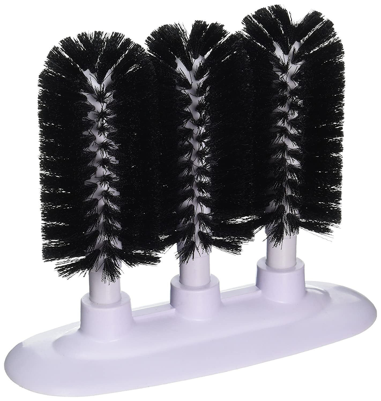 New Star Foodservice 54484 Triple Brush Bar Glass Washer - 3 Brushes - Suction Base