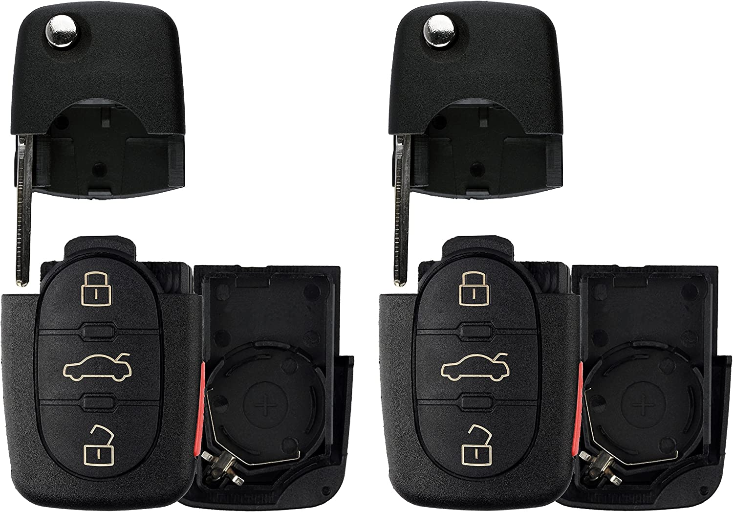 KeylessOption Keyless Entry Remote Key Fob Shell Case Button Pad Outter Cover For VW Audi