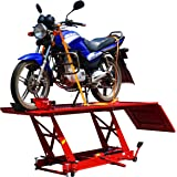 FoxHunter 1000lb 450KG Hydraulic Bike Motorcycle Motorbike Workshop Table Lift Ramp Bench SN0604 Large Size Red