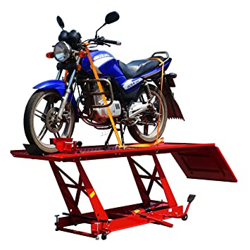 Swell Foxhunter 1000Lb 450Kg Hydraulic Bike Motorcycle Motorbike Workshop Table Lift Ramp Bench Sn0604 Large Size Red Download Free Architecture Designs Crovemadebymaigaardcom
