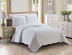Home Collection 3pc Full/Queen Over Size Elegant Embossed Bedspread Set Light Weight Solid White New