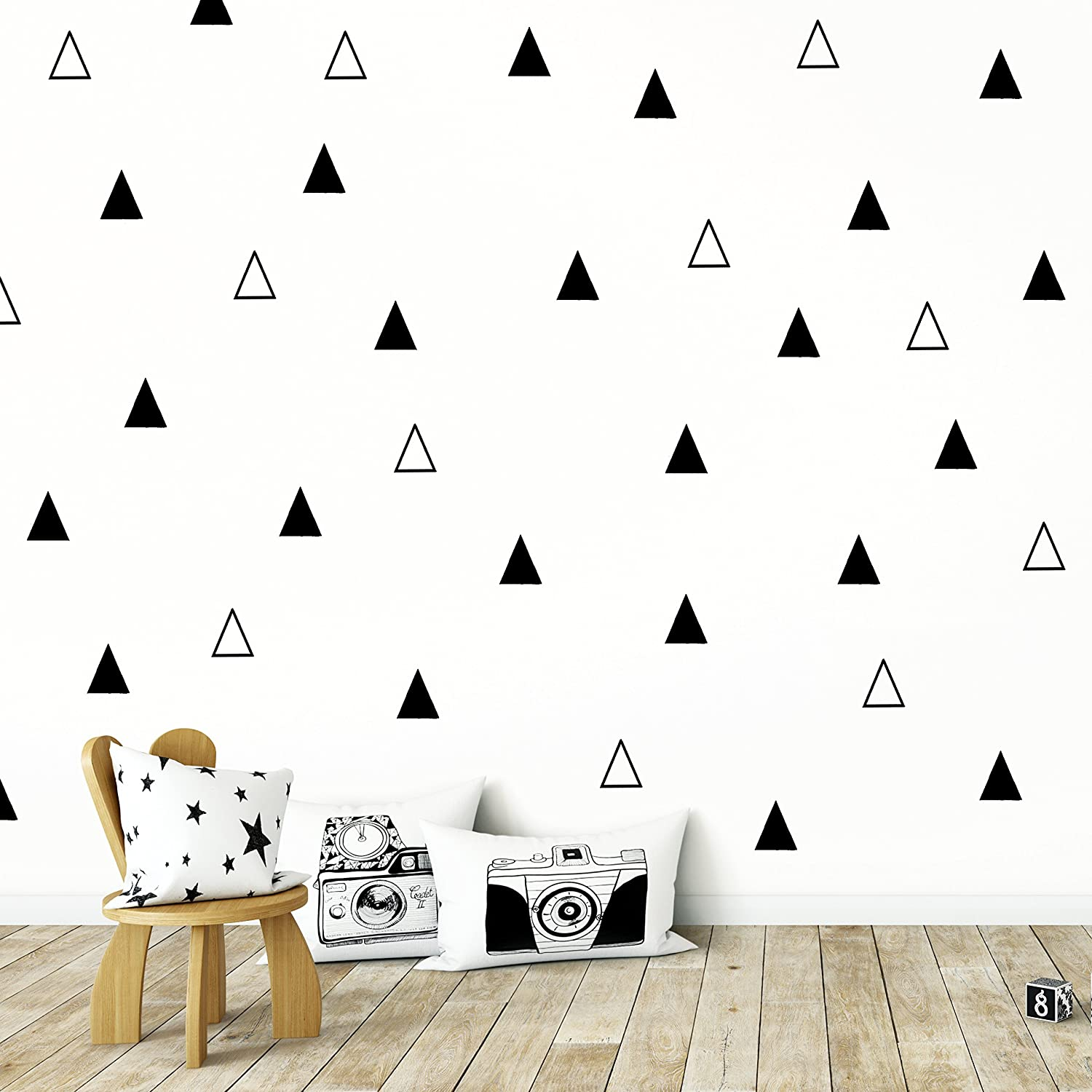 Adhesive Black Tribal Triangles for Kids Baby Bedroom Decoration. Wall Vinyl Sticker Decal Decor Nursery.